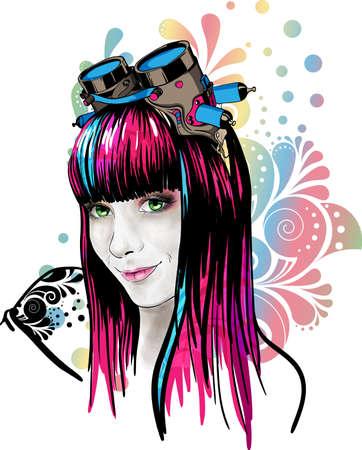 punk hair: Pretty girl wearing pilot goggles