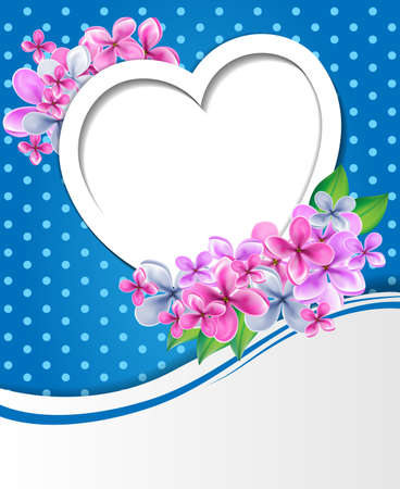 Heart with flowers design template photo