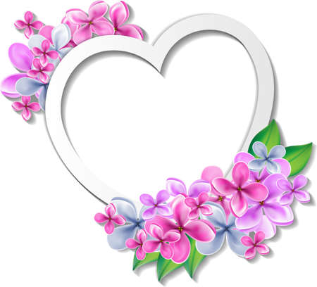 animal frames: Heart with flowers design template