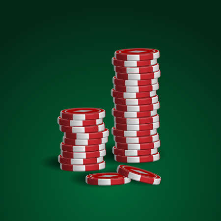 Casino chips stacks on green background Stock Vector - 17241679