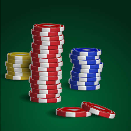 Casino chips stacks on green background Stock Vector - 17241680