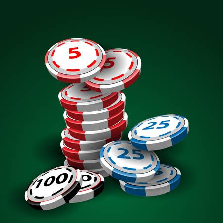 Casino chips stacks on green background Vector