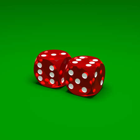 Two red dices on green background Stock Photo - 17255206