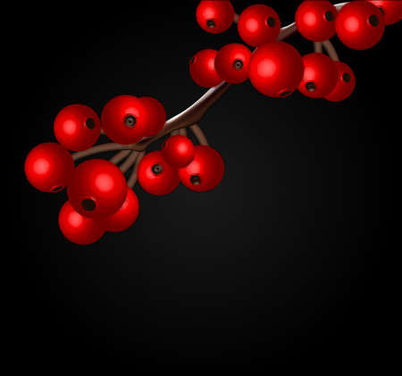 Redcurrant branch isolated over black Stock Vector - 17434845