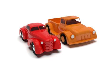 Two retro toy cars Stock Photo - 17434854
