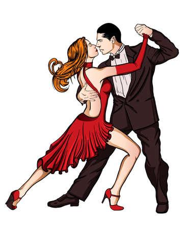 baile latino: Una pareja que baila tango aislado Vectores