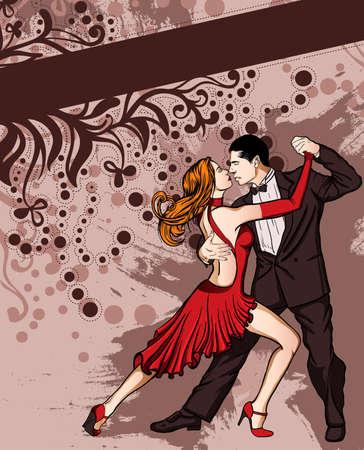 bailando salsa: Una pareja que baila tango Vectores