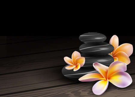spa stones: Spa concept zen stones and frangipani flowers Illustration