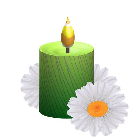 Spa concept  candle and camomile Stock Vector - 17562259