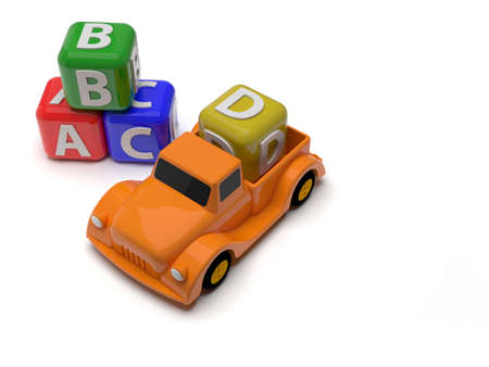 Toy car and abc blocks photo