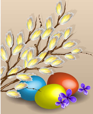 Pussy willow branches and easter eggs Stock Vector - 17562273