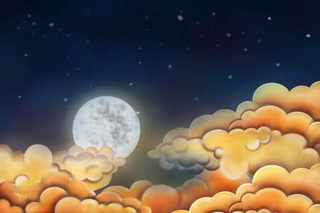 Night sky illustration  Moon and clouds Stock Illustration - 17695385