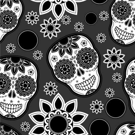 dead flowers: Sugar skull seamless pattern