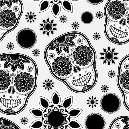 dode bladeren: Sugar schedel naadloze patroon