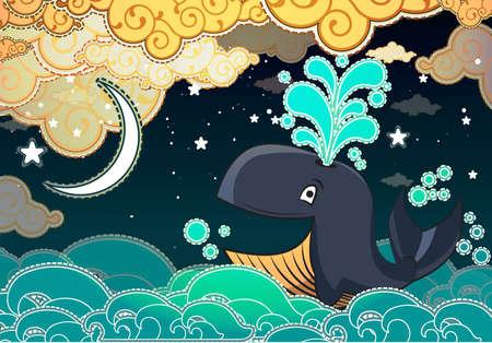 Ballena Cartoon estilo, noche, media luna y las nubes