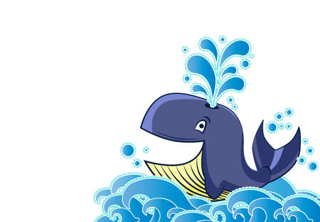 blue smiling: Cartoon style whale