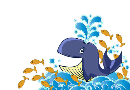 Cartoon style whale and fish  Vector