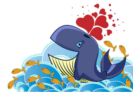 Cartoon style whale bursting hearts Vector