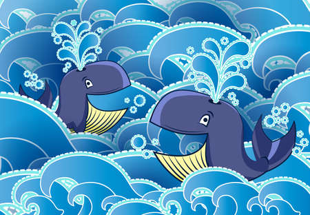 Cartoon style whale, night, half moon and clouds Vector