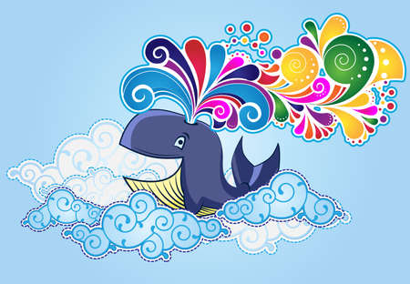 Cartoon style whale  flying in the sky and bursting rainbow Vector