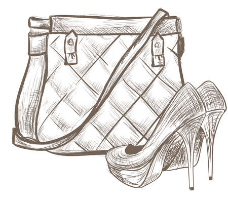 Women bag and shoes sketch Vector
