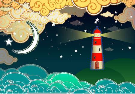 lighthouse at night: Cartoon estilo faro