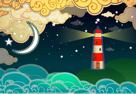 Cartoon style lighthouse Vector