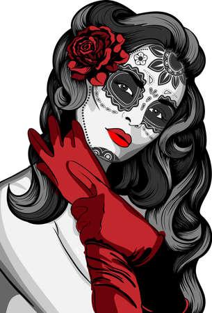 skull tattoo: Sugar schedel dame met verf voor Dag van de Doden Dia de los Muertos Stock Illustratie
