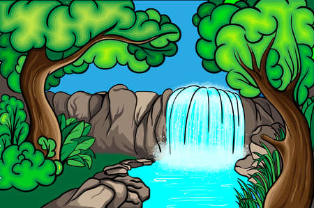 Cartoon style waterfall in the forest Vector