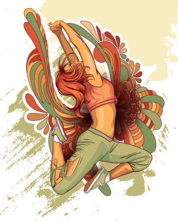 baile hip hop: Niña bailando Vectores