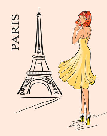 Paris  Girl and Eiffel tower