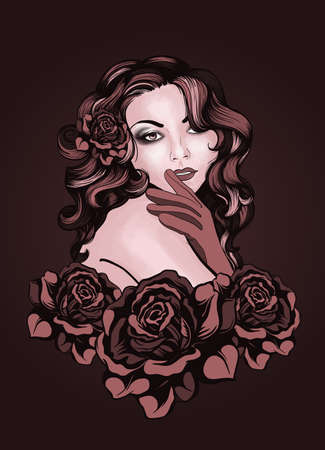 retro styled imagery: Vintage style young lady with roses Illustration