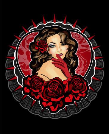 pin up vintage: Vintage stile giovane donna con rose Vettoriali