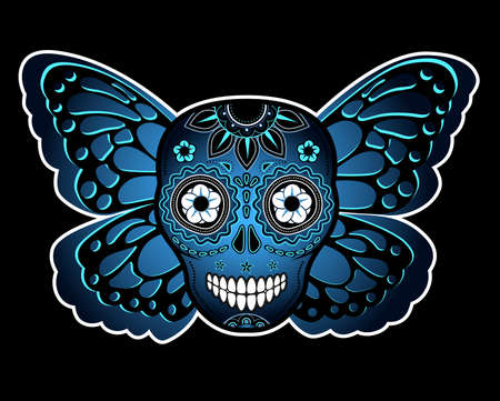 american butterflies: Skull and butterfly Illustration
