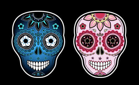 Two sugar skulls Vector