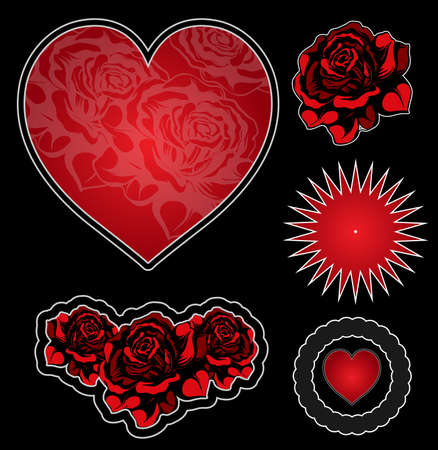 rose tattoo: Tatoo elements set Illustration