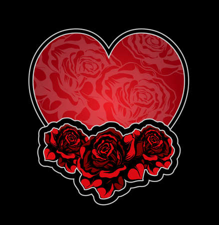 Heart and roses tatoo Vector