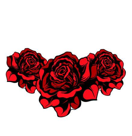 tatouage fleur: Arbre isol� roses rouges