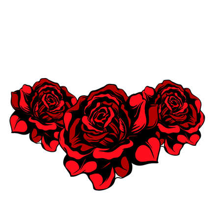Tree red roses isolated Vector