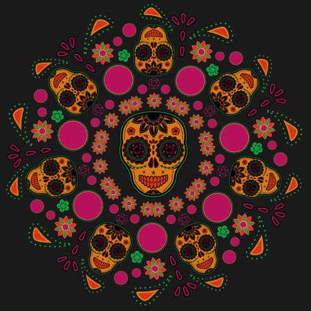 dode bladeren: Sugar schedel patroon