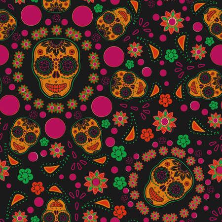deaths head: Sugar skull seamless pattern
