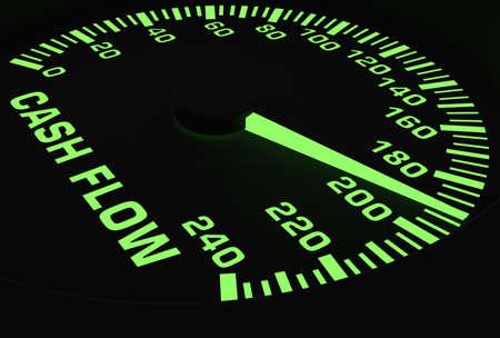 Cash Flow: Speedometer showing rising of cash flow
