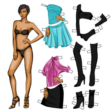 Dress up paper doll toy  Vector