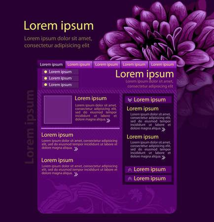 Purple flower web page design template Vector