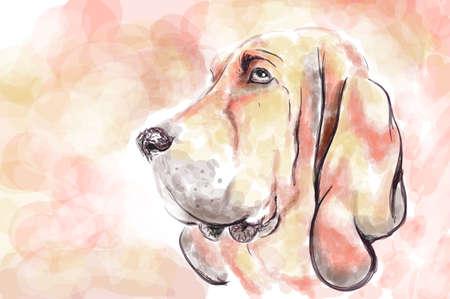 Bloodhaund perro acuarela pintura de imitación