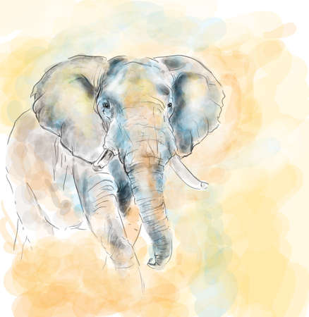 arte africano: Elephant imitaci�n acuarela pintura