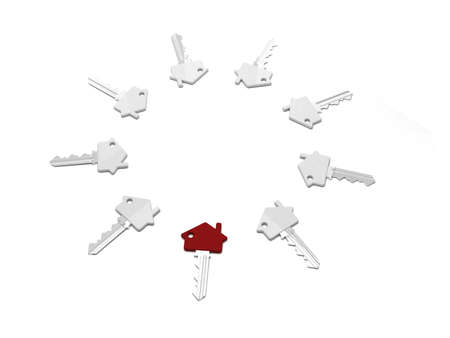 Group of keys laying in circle with one red key  Stock Photo - 18647294