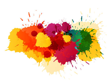 Colorful splatters template Illustration