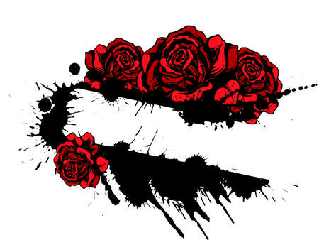the gothic style: Red roses and splatter with space for text  template Illustration