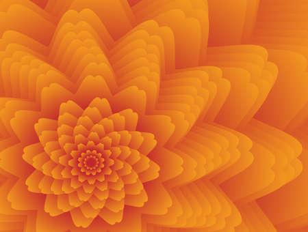 Fractal flower in orange colors Vector